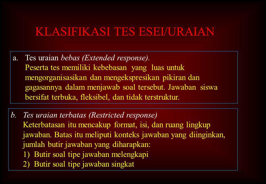 KLASIFIKASI TES ESEI/URAIAN