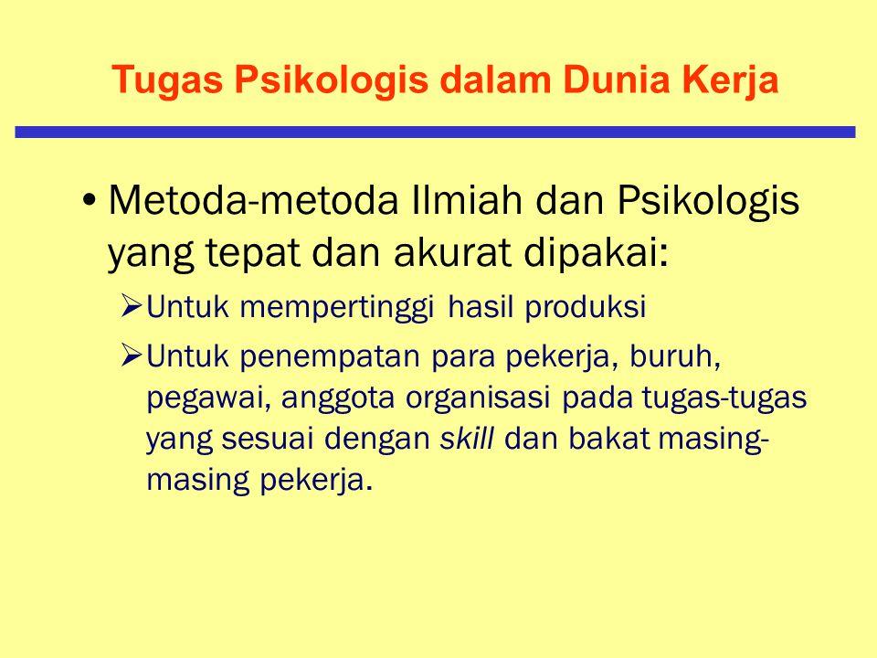 Tugas Psikologis dalam Dunia Kerja