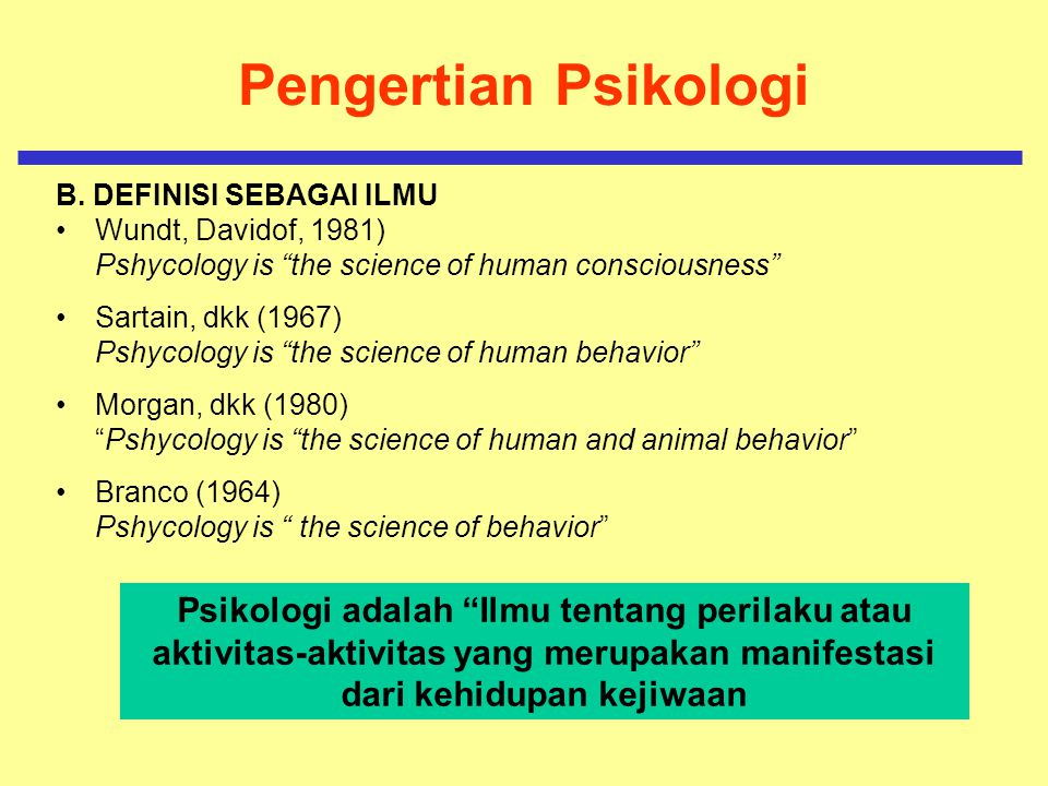 Pengertian Psikologi B. DEFINISI SEBAGAI ILMU. Wundt, Davidof, 1981) Pshycology is the science of human consciousness