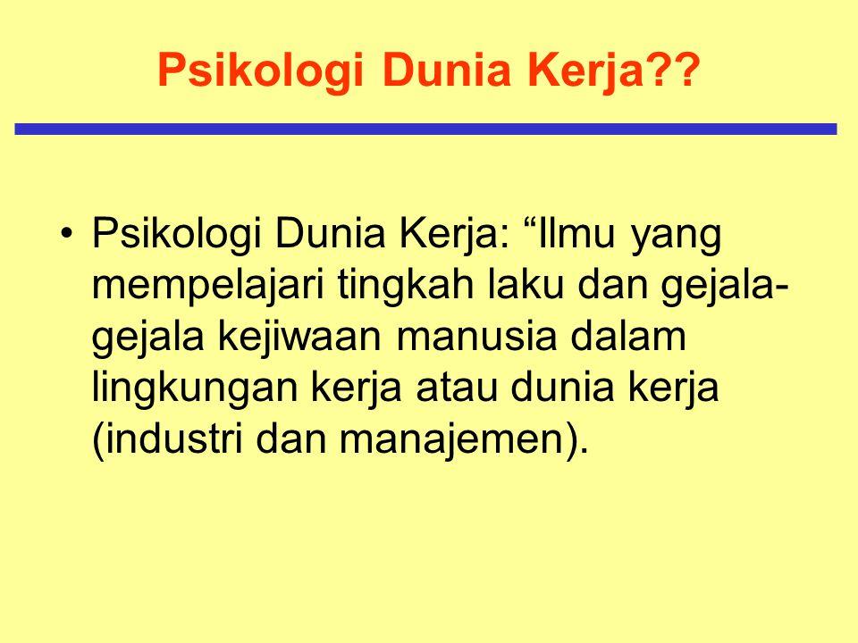 Psikologi Dunia Kerja