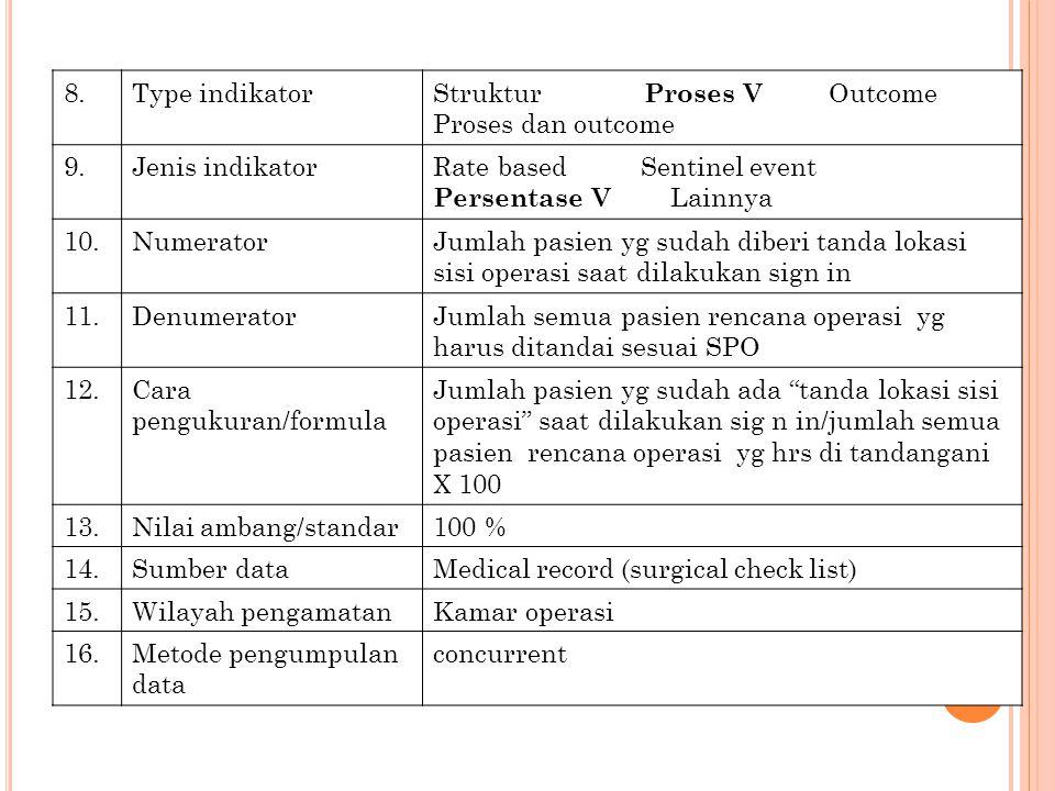 8. Type indikator. Struktur Proses V Outcome. Proses dan outcome. 9. Jenis indikator.