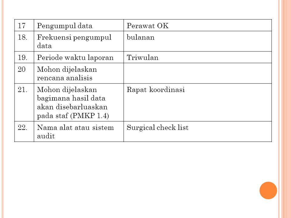 17 Pengumpul data. Perawat OK. 18. Frekuensi pengumpul data. bulanan. 19. Periode waktu laporan.