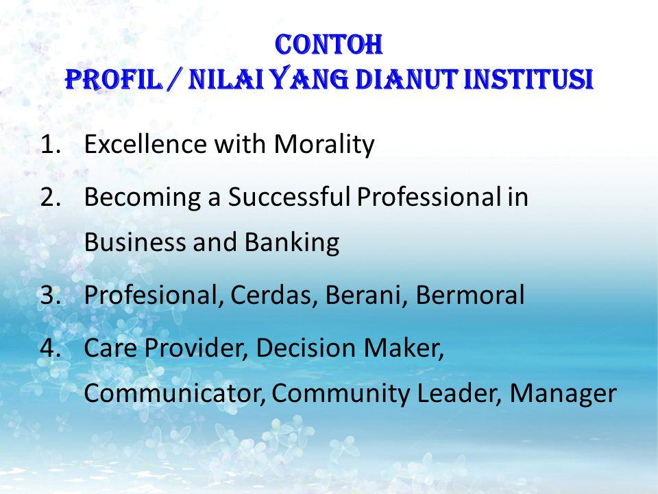 CONTOH PROFIL / NILAI YANG DIANUT INSTITUSI