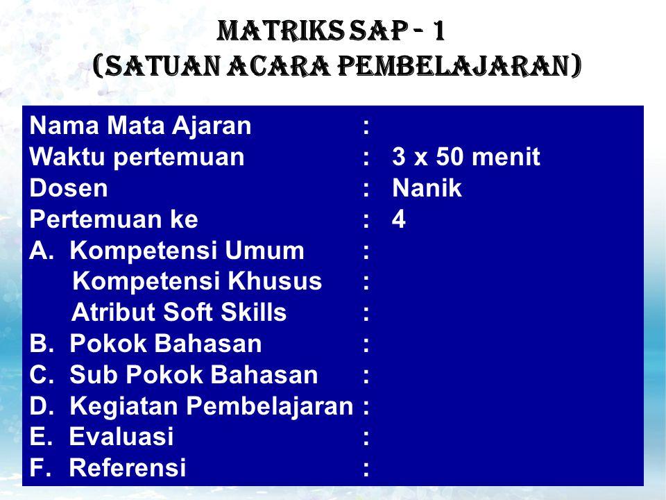 MATRIKS SAP - 1 (Satuan Acara Pembelajaran)