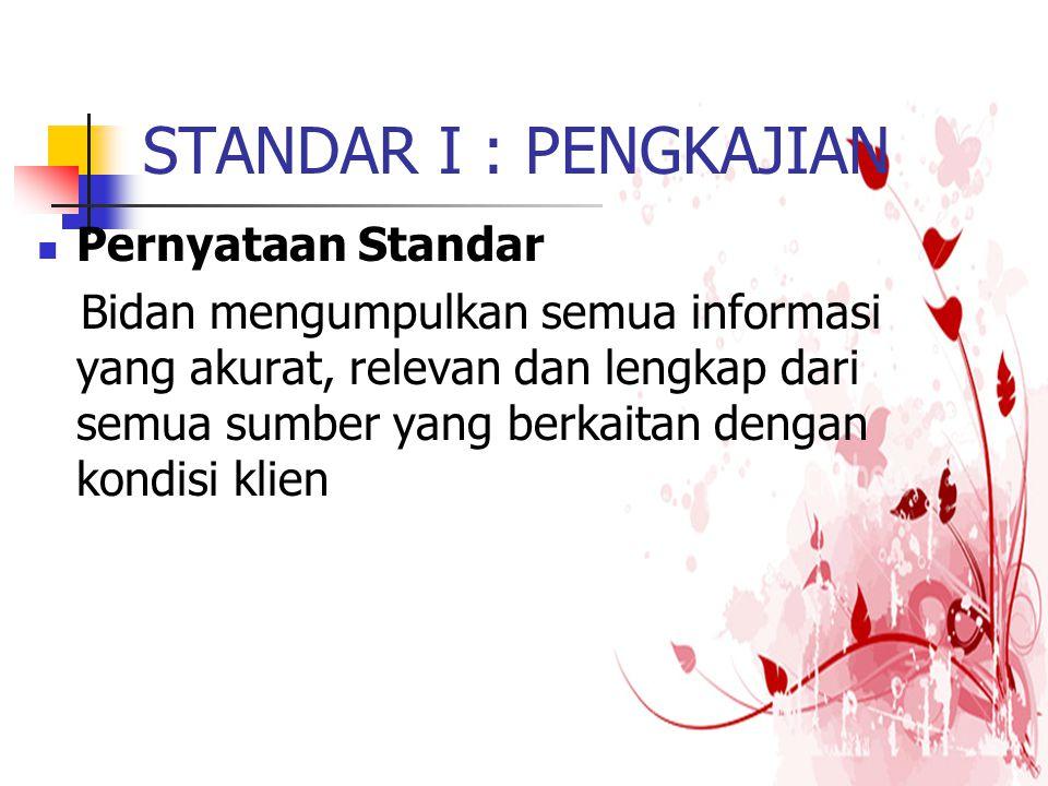 STANDAR I : PENGKAJIAN Pernyataan Standar