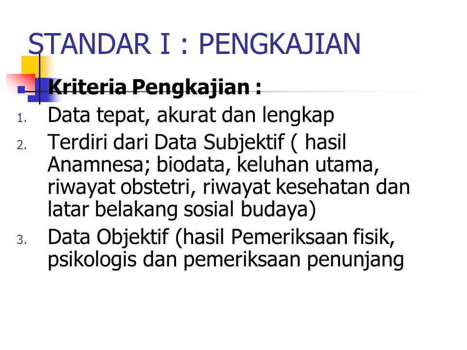 STANDAR I : PENGKAJIAN Kriteria Pengkajian :