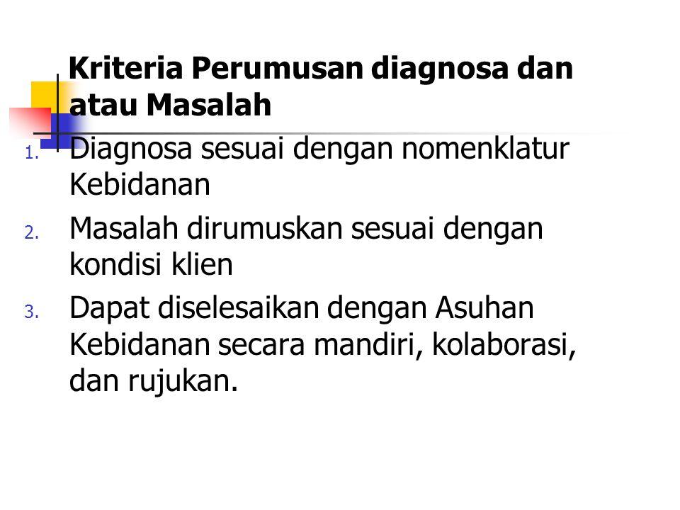 Kriteria Perumusan diagnosa dan atau Masalah