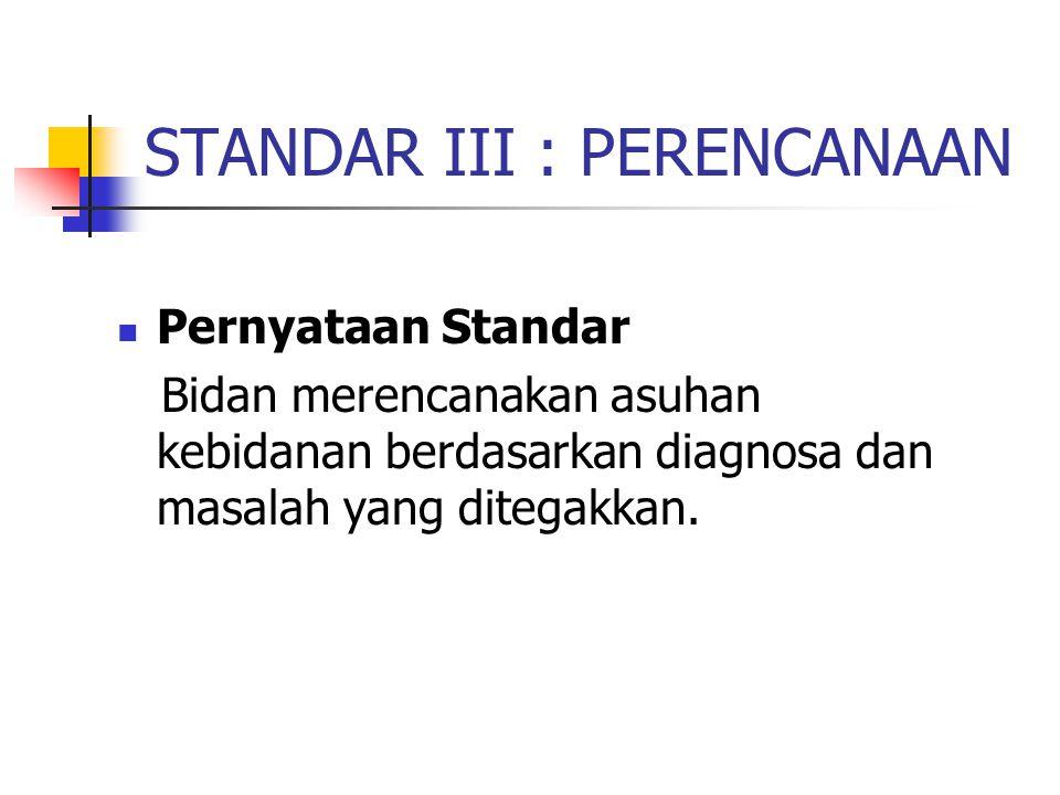 STANDAR III : PERENCANAAN
