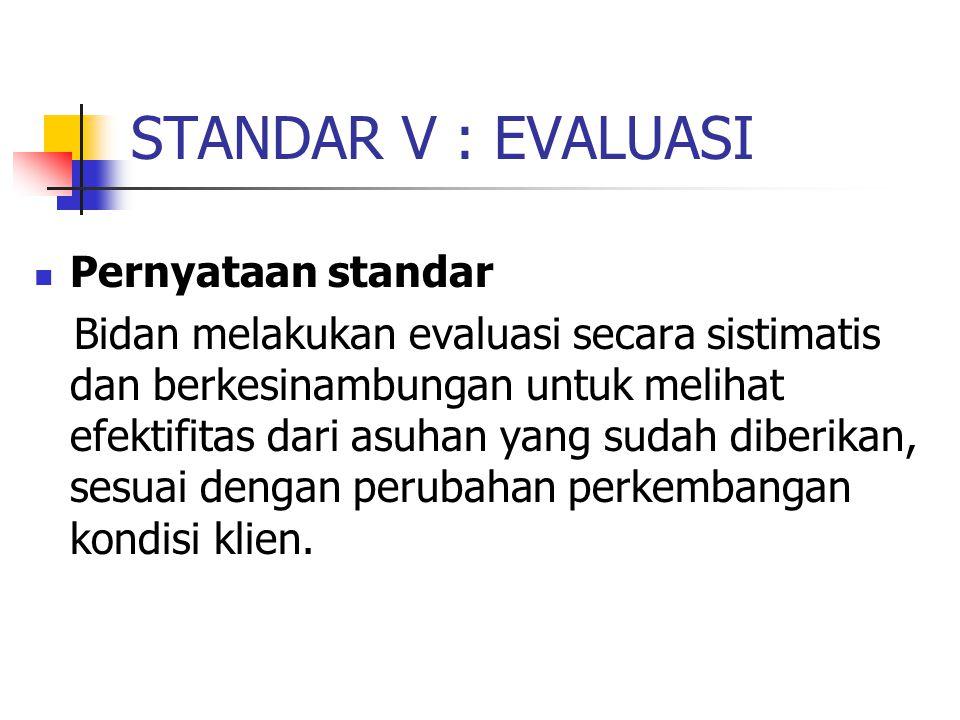 STANDAR V : EVALUASI Pernyataan standar