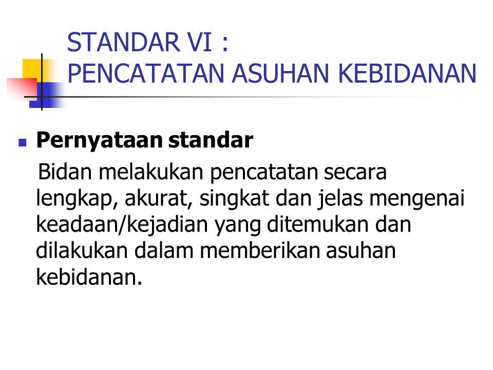 STANDAR VI : PENCATATAN ASUHAN KEBIDANAN