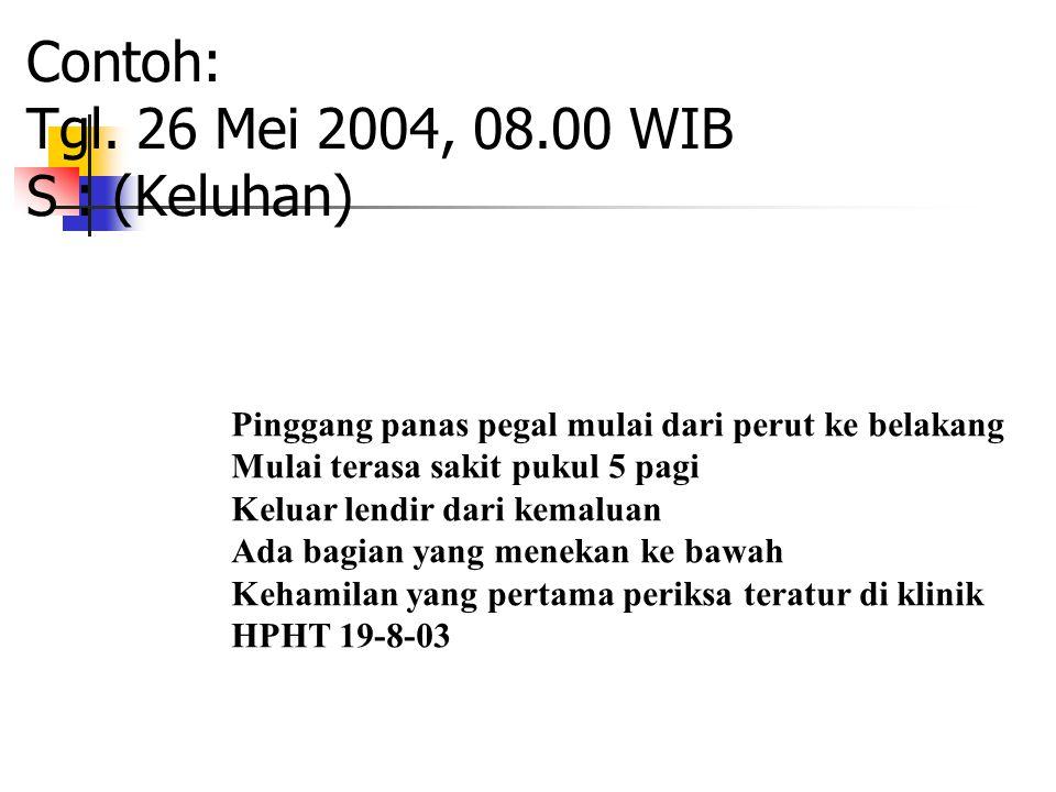 Contoh: Tgl. 26 Mei 2004, 08.00 WIB S : (Keluhan)