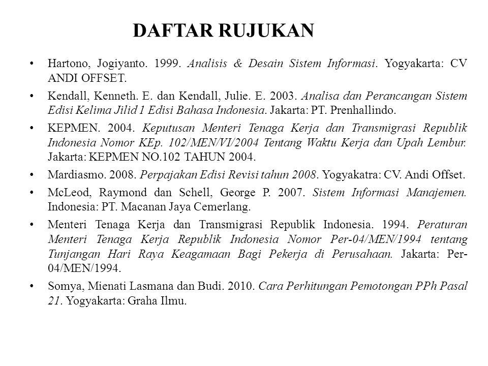 DAFTAR RUJUKAN Hartono, Jogiyanto. 1999. Analisis & Desain Sistem Informasi. Yogyakarta: CV ANDI OFFSET.