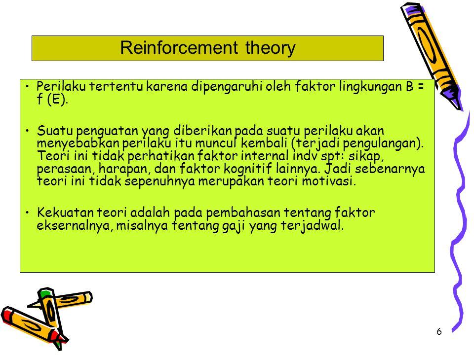 Reinforcement theory Perilaku tertentu karena dipengaruhi oleh faktor lingkungan B = f (E).