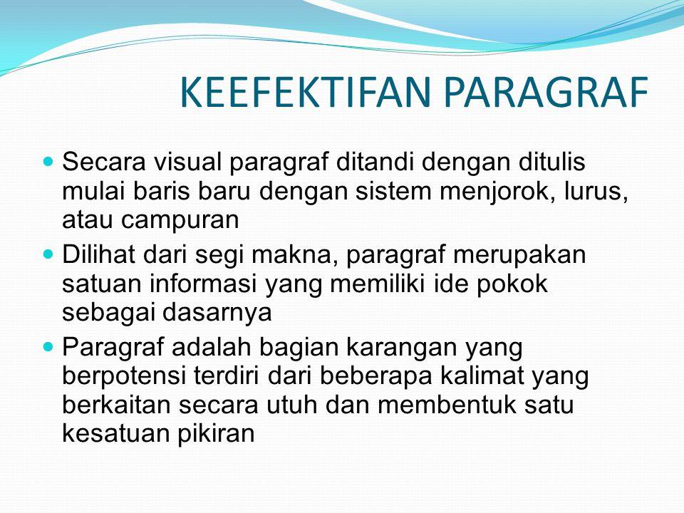 KEEFEKTIFAN PARAGRAF Secara visual paragraf ditandi dengan ditulis mulai baris baru dengan sistem menjorok, lurus, atau campuran.