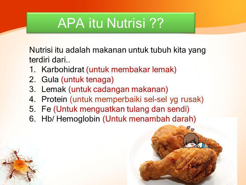 APA itu Nutrisi Nutrisi itu adalah makanan untuk tubuh kita yang