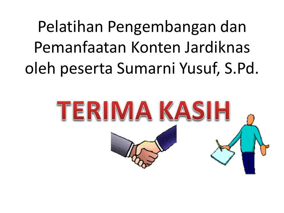 Pelatihan Pengembangan dan Pemanfaatan Konten Jardiknas oleh peserta Sumarni Yusuf, S.Pd.