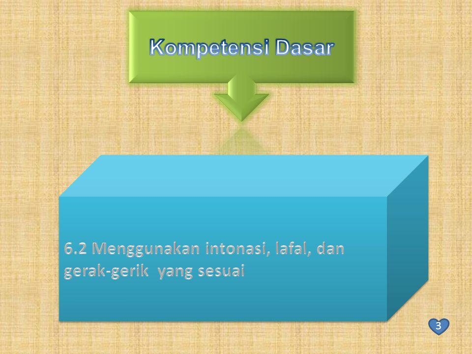 Kompetensi Dasar 6.2 Menggunakan intonasi, lafal, dan gerak-gerik yang sesuai 3