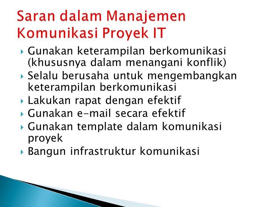 Saran dalam Manajemen Komunikasi Proyek IT