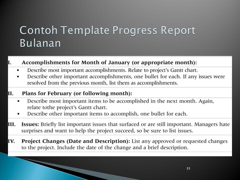 Contoh Template Progress Report Bulanan