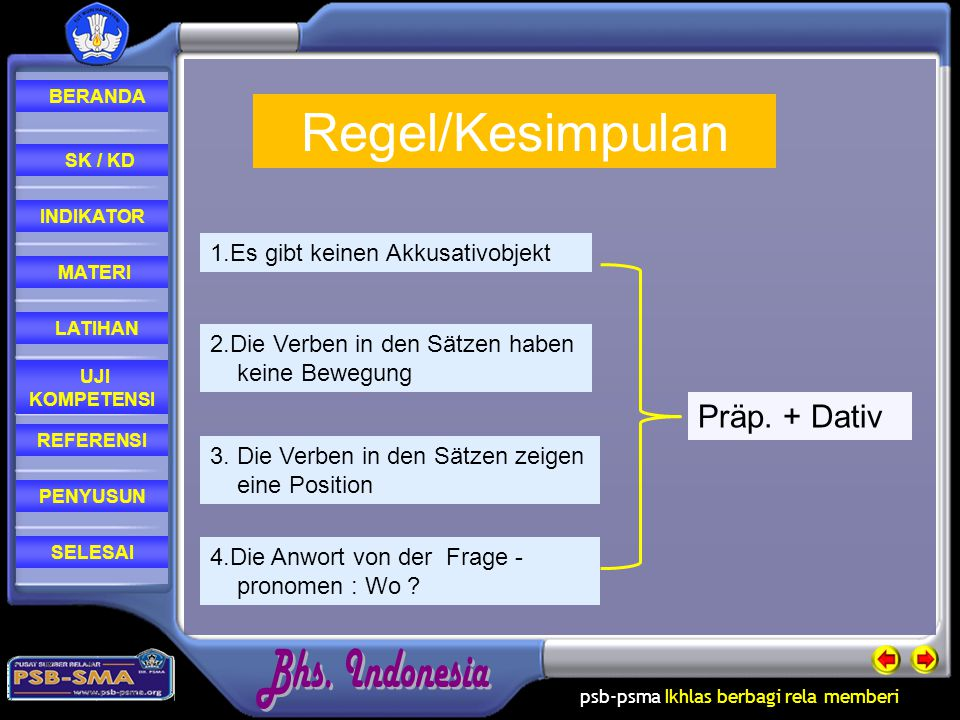 Regel/Kesimpulan Präp. + Dativ 1.Es gibt keinen Akkusativobjekt