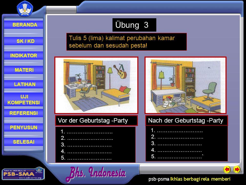 Übung 3 Tulis 5 (lima) kalimat perubahan kamar sebelum dan sesudah pesta! Vor der Geburtstag -Party.