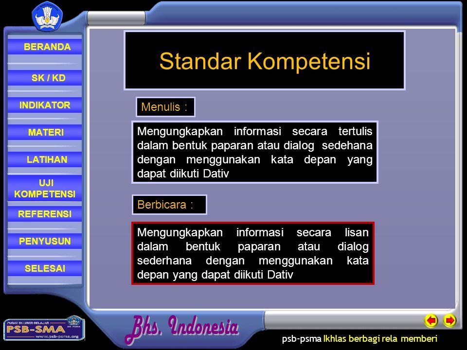 Standar Kompetensi Menulis :