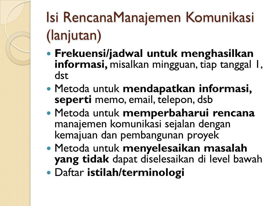 Isi RencanaManajemen Komunikasi (lanjutan)