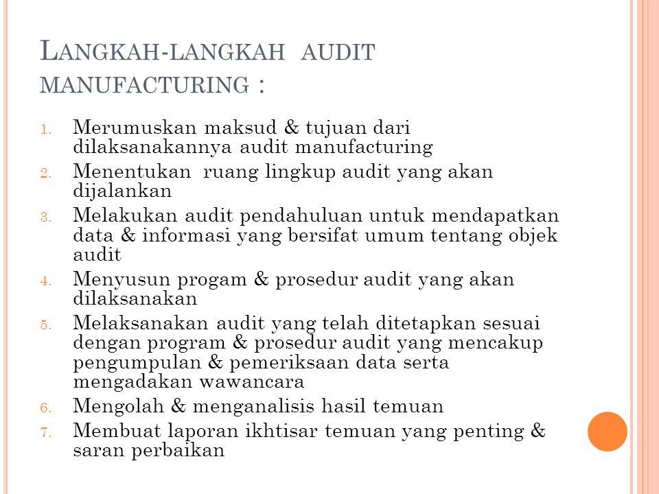 Langkah-langkah audit manufacturing :