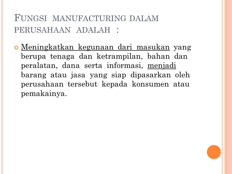 Fungsi manufacturing dalam perusahaan adalah :