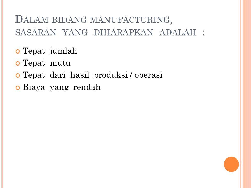 Dalam bidang manufacturing, sasaran yang diharapkan adalah :