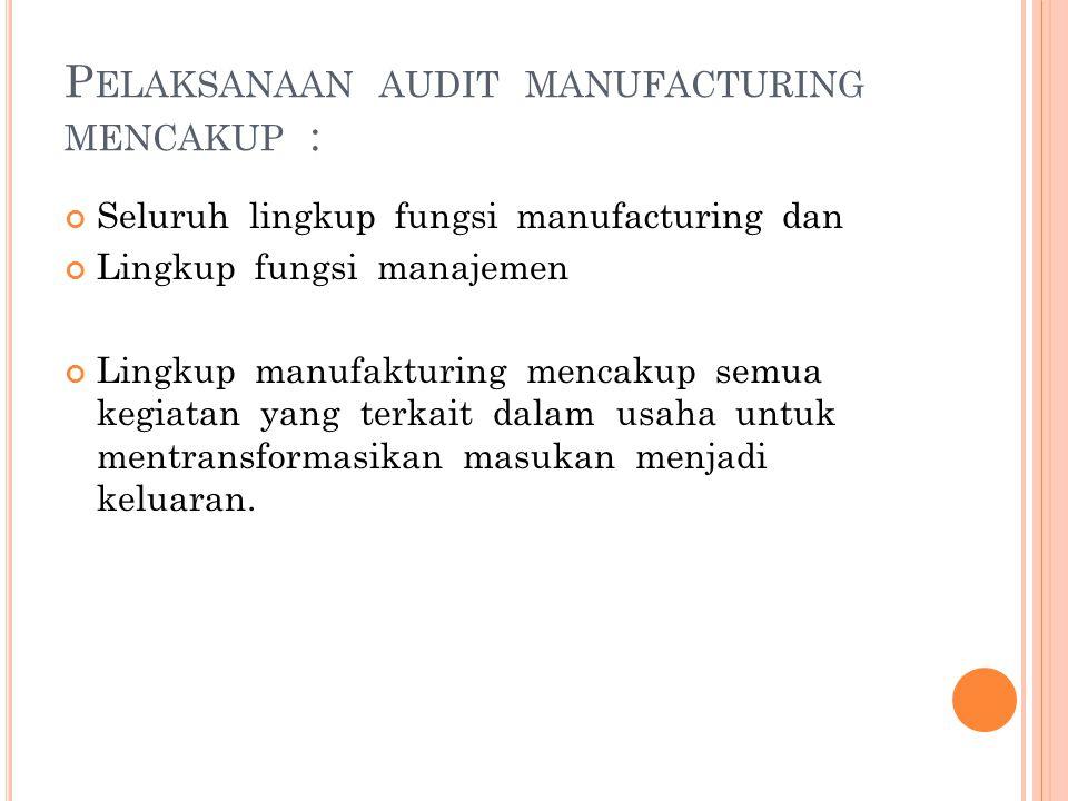 Pelaksanaan audit manufacturing mencakup :