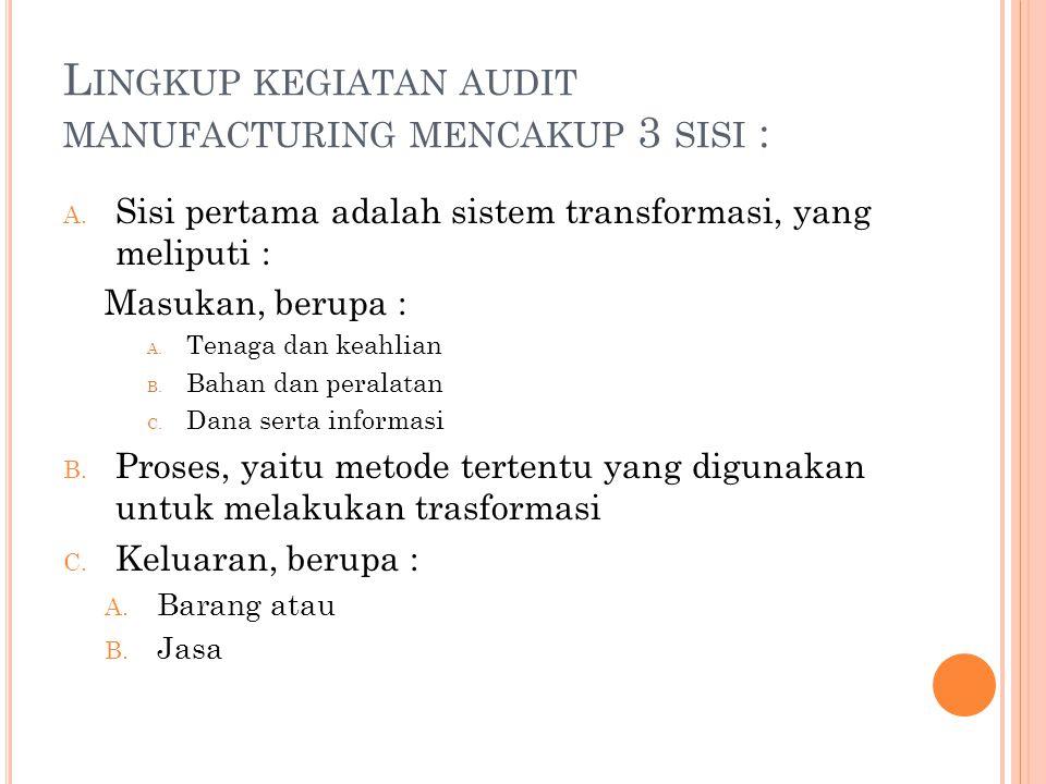 Lingkup kegiatan audit manufacturing mencakup 3 sisi :