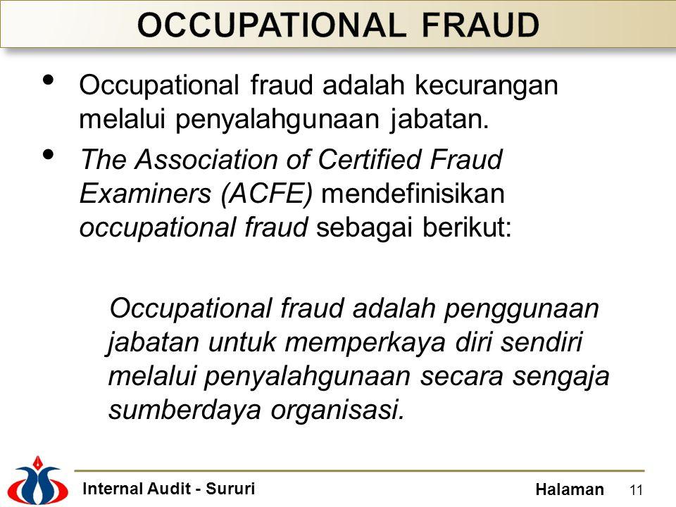 OCCUPATIONAL FRAUD Occupational fraud adalah kecurangan melalui penyalahgunaan jabatan.