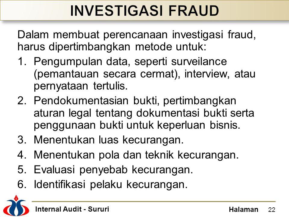 INVESTIGASI FRAUD Dalam membuat perencanaan investigasi fraud, harus dipertimbangkan metode untuk: