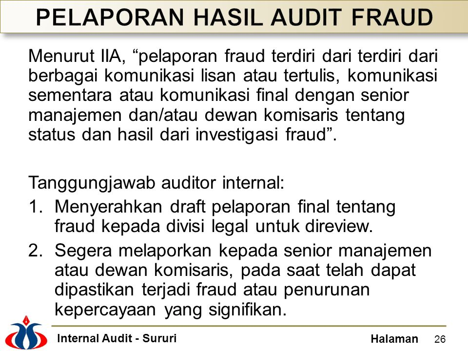 PELAPORAN HASIL AUDIT FRAUD