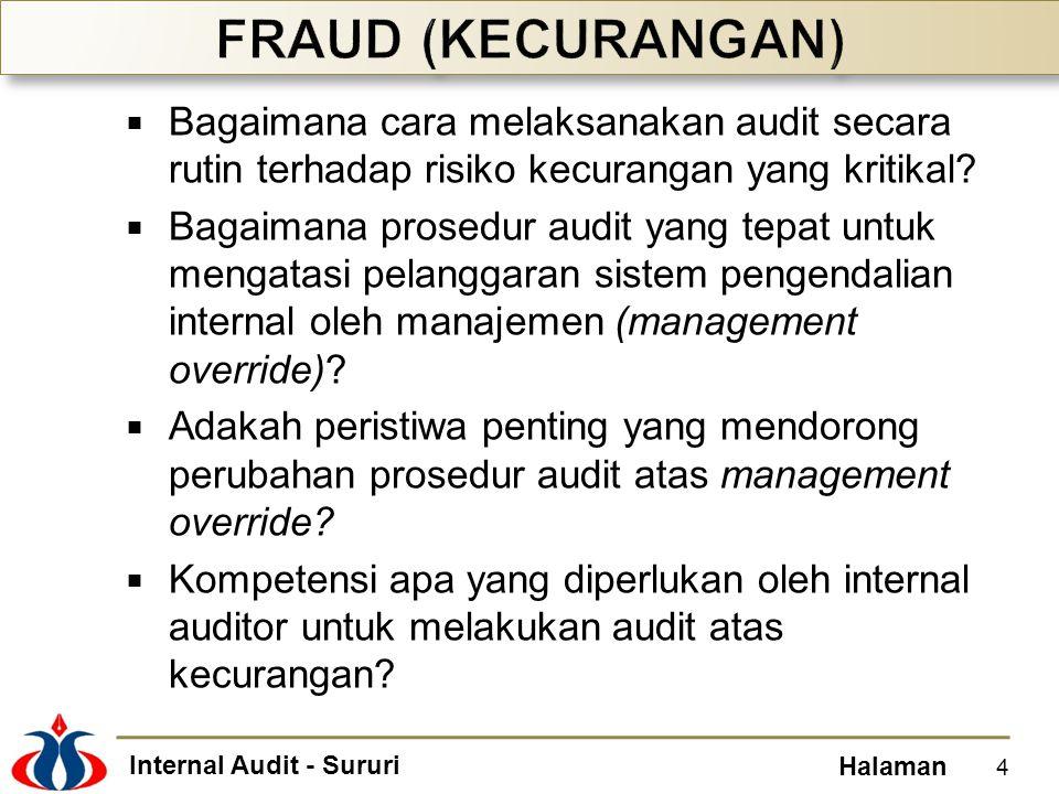 FRAUD (KECURANGAN) Bagaimana cara melaksanakan audit secara rutin terhadap risiko kecurangan yang kritikal
