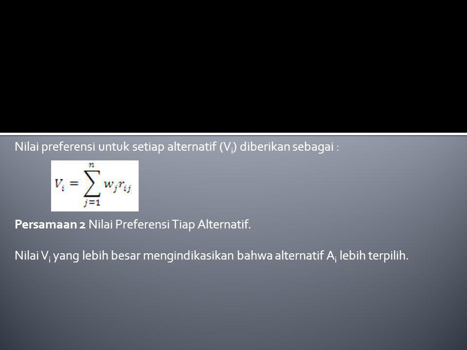 Nilai preferensi untuk setiap alternatif (Vi) diberikan sebagai :