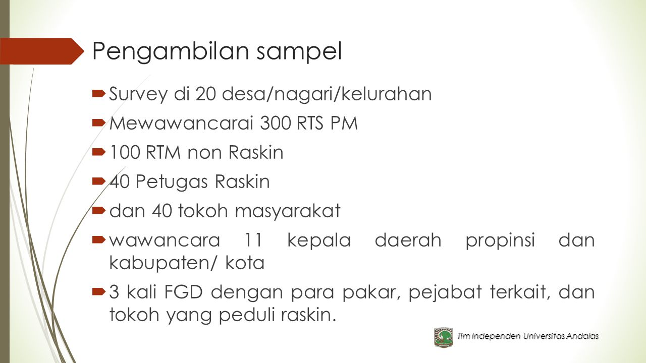 Pengambilan sampel Survey di 20 desa/nagari/kelurahan