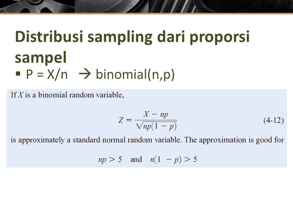 Distribusi sampling dari proporsi sampel