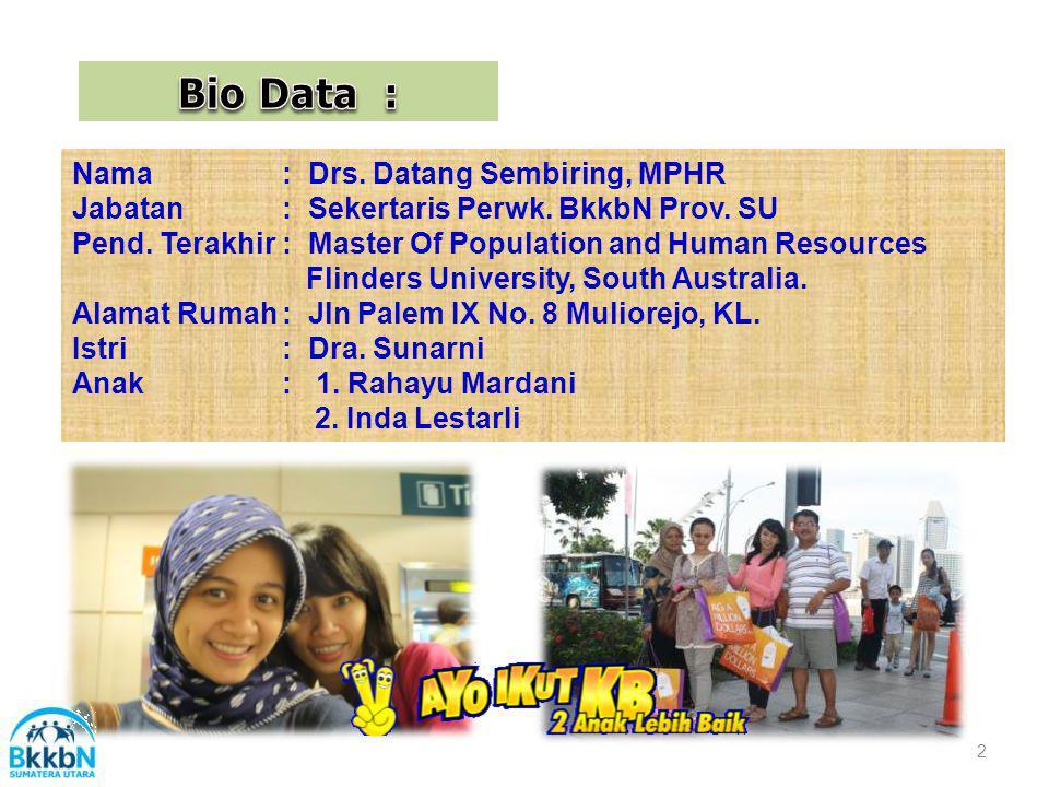 Bio Data : Nama : Drs. Datang Sembiring, MPHR