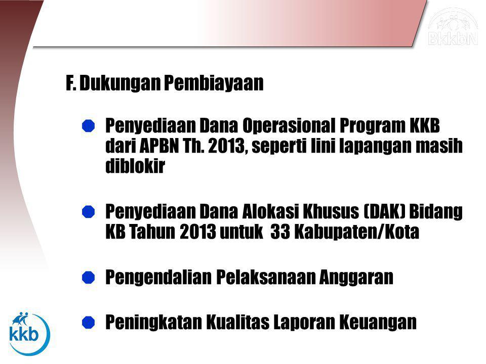 F. Dukungan Pembiayaan Penyediaan Dana Operasional Program KKB dari APBN Th. 2013, seperti lini lapangan masih diblokir.