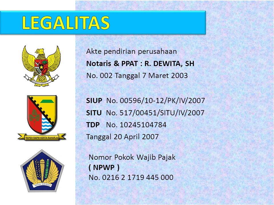 LEGALITAS Akte pendirian perusahaan Notaris & PPAT : R. DEWITA, SH