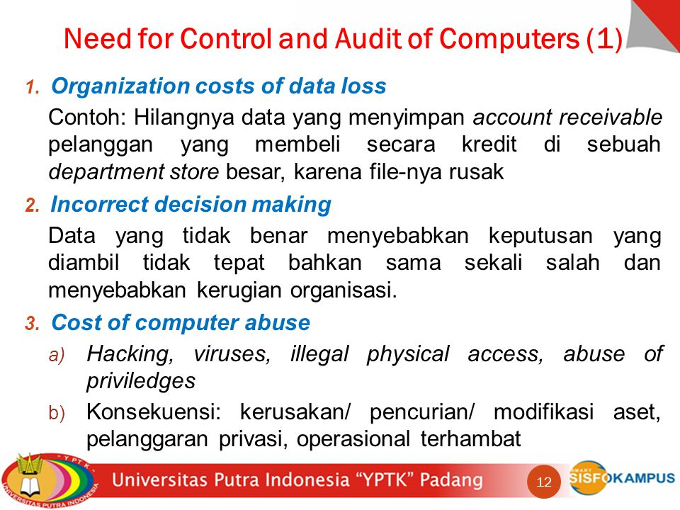 Need for Control and Audit of Computers (1)