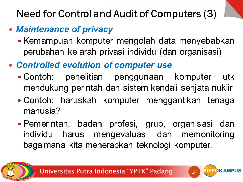 Need for Control and Audit of Computers (3)