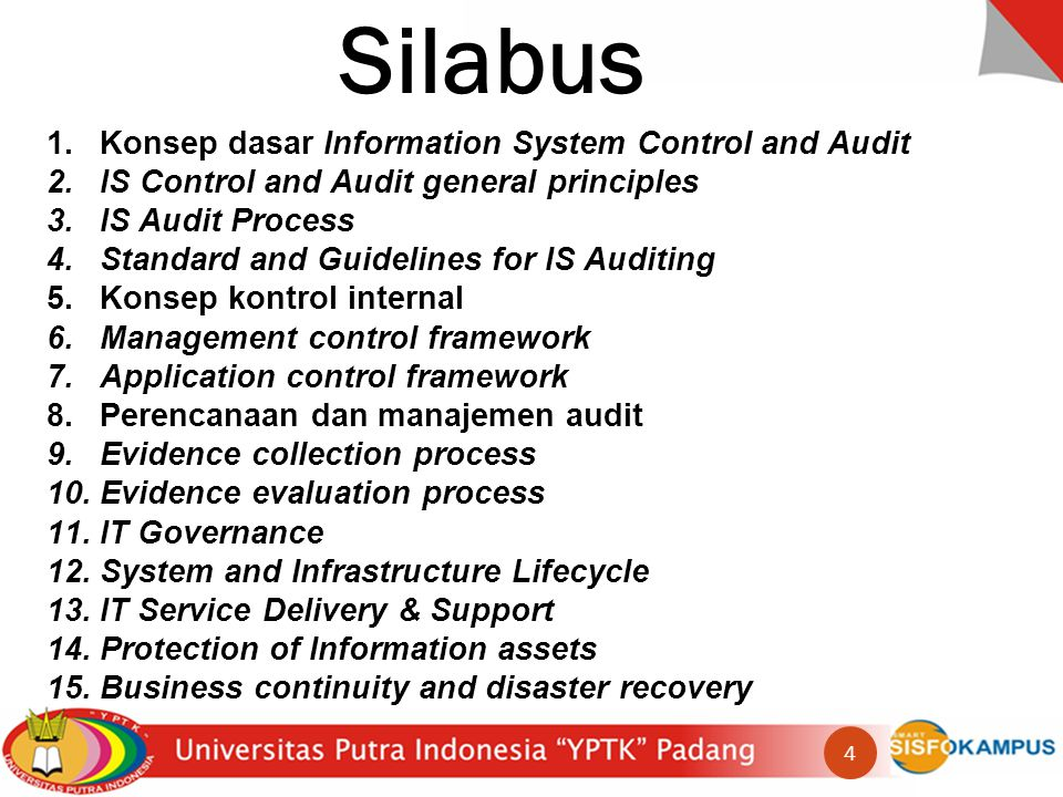 Silabus Konsep dasar Information System Control and Audit