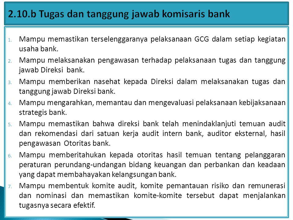 2.10.b Tugas dan tanggung jawab komisaris bank