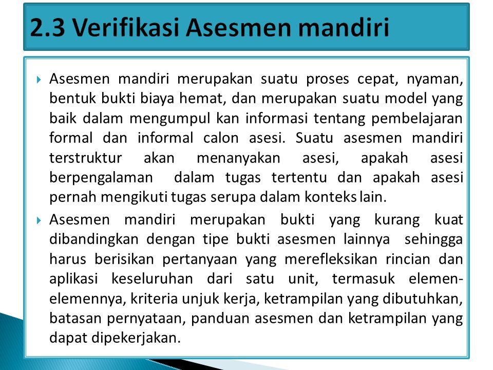 2.3 Verifikasi Asesmen mandiri