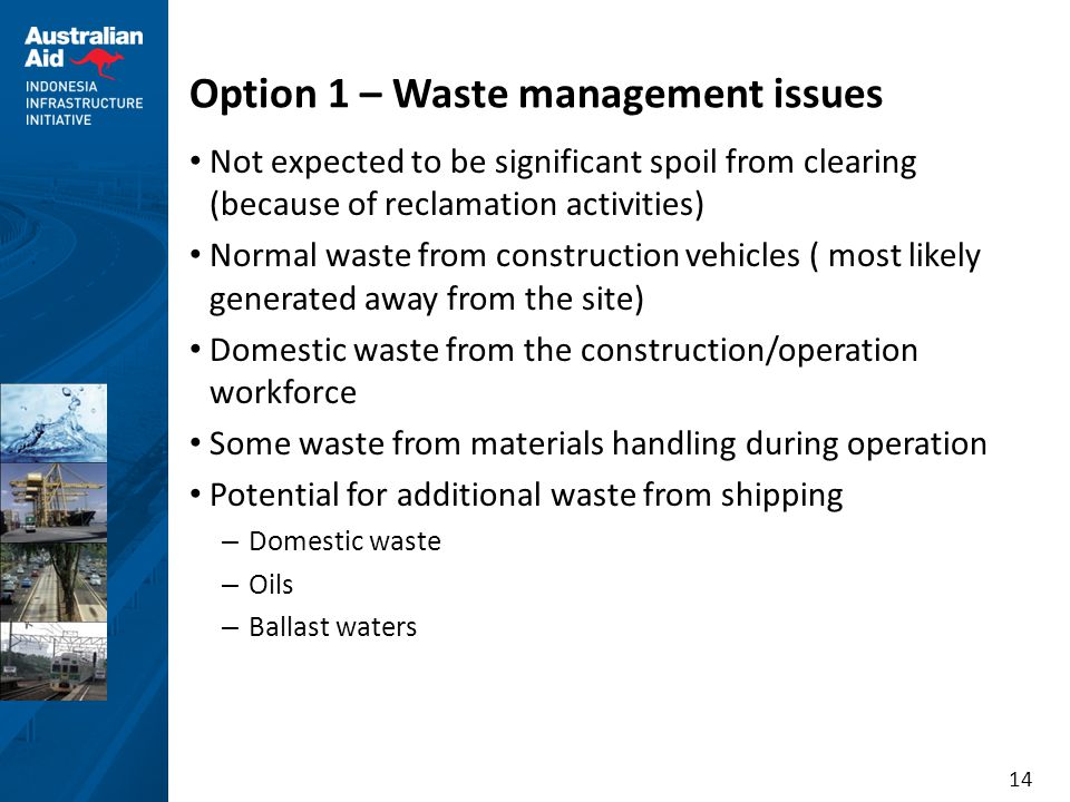 Option 1 – Waste management issues