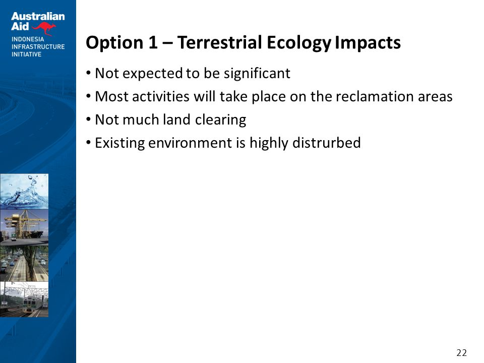Option 1 – Terrestrial Ecology Impacts