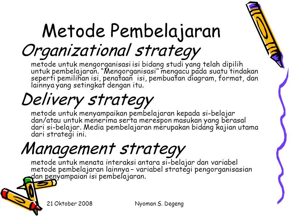 Metode Pembelajaran Organizational strategy Delivery strategy